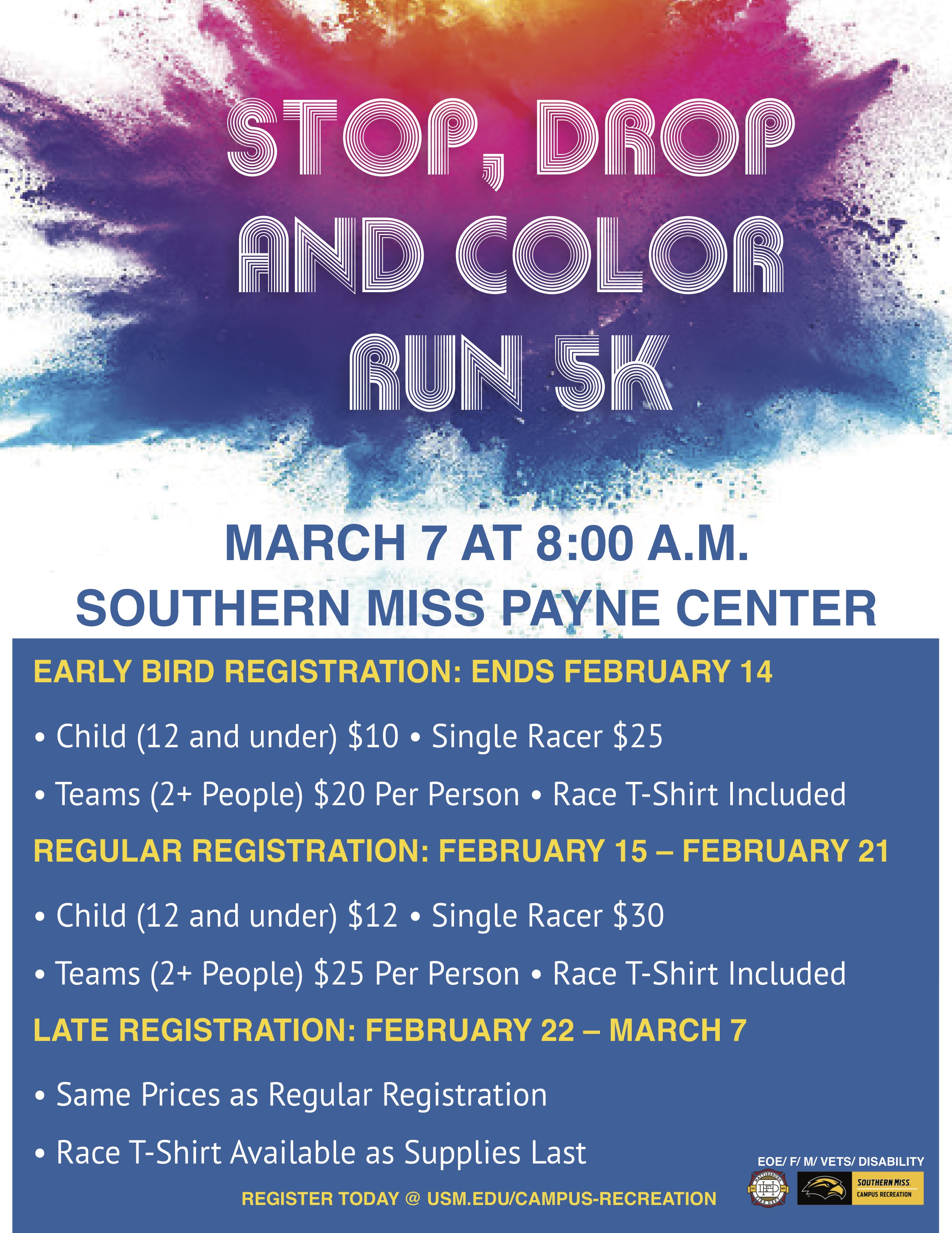 Stop, Drop and Color Run 5K Flyer