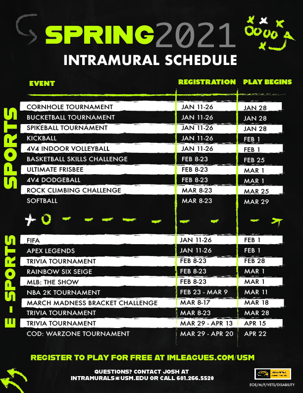 Intramural Sports Spring 2021 Schedule