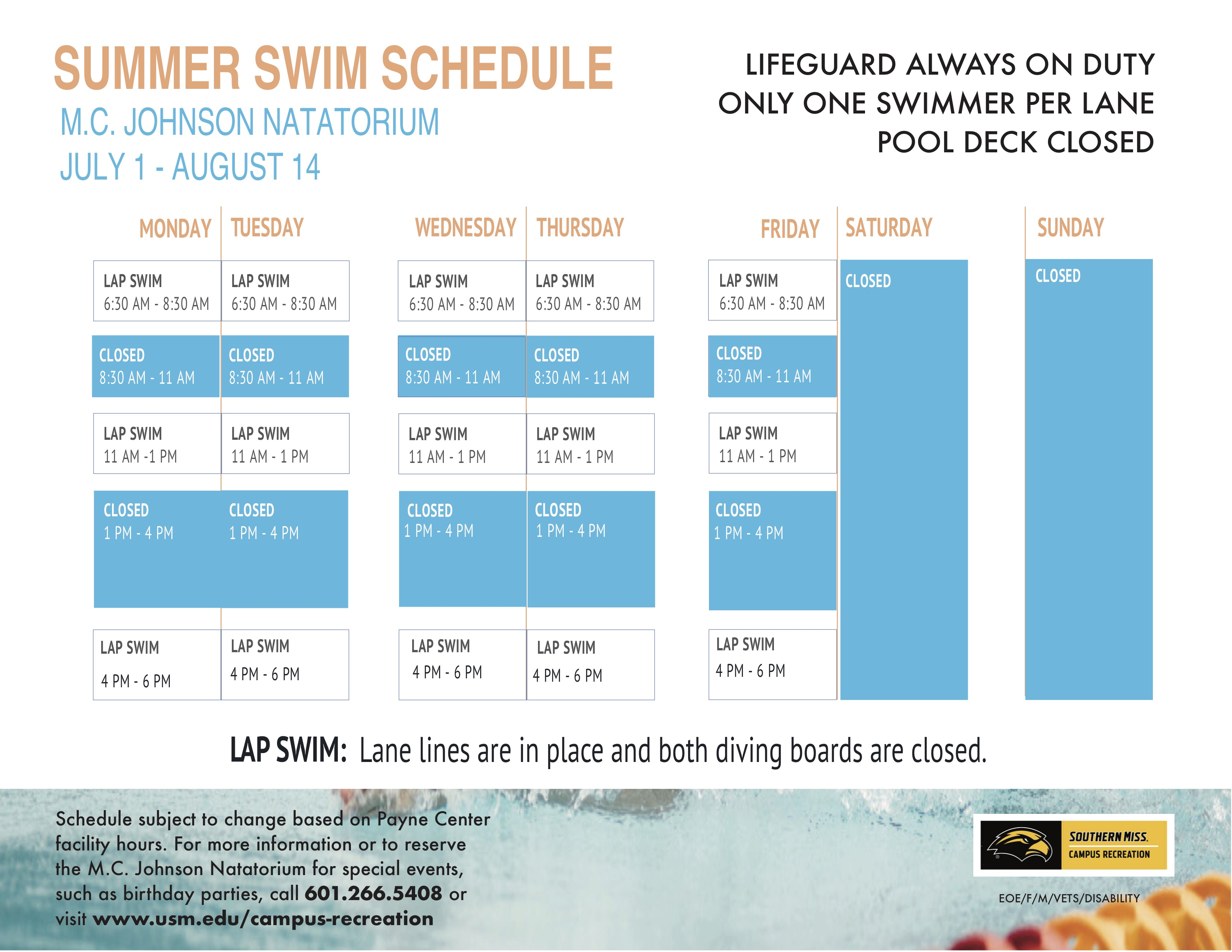 Natatorium Summer 2020 Schedule