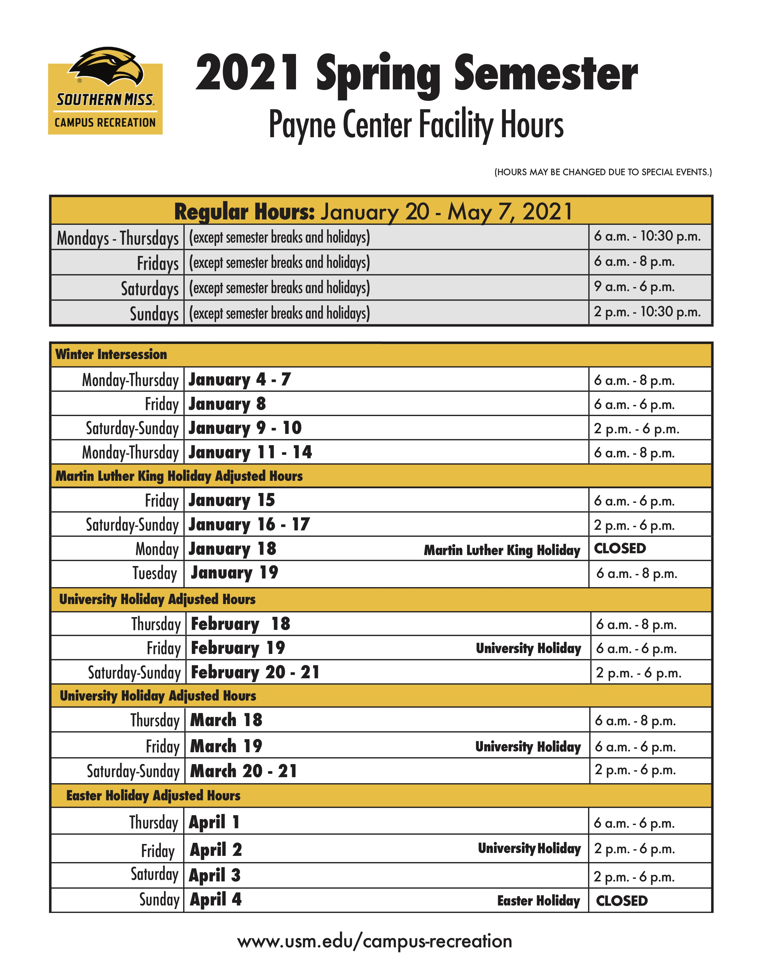 Payne Center Spring 2021 Hours