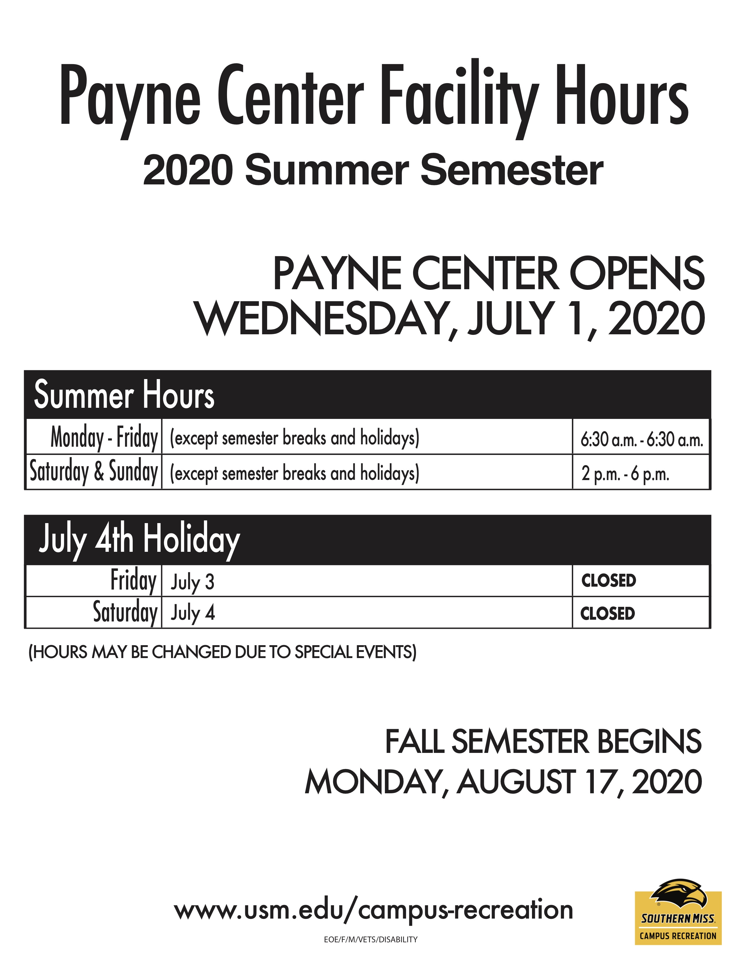 Payne Center Summer 2020 Building Hours