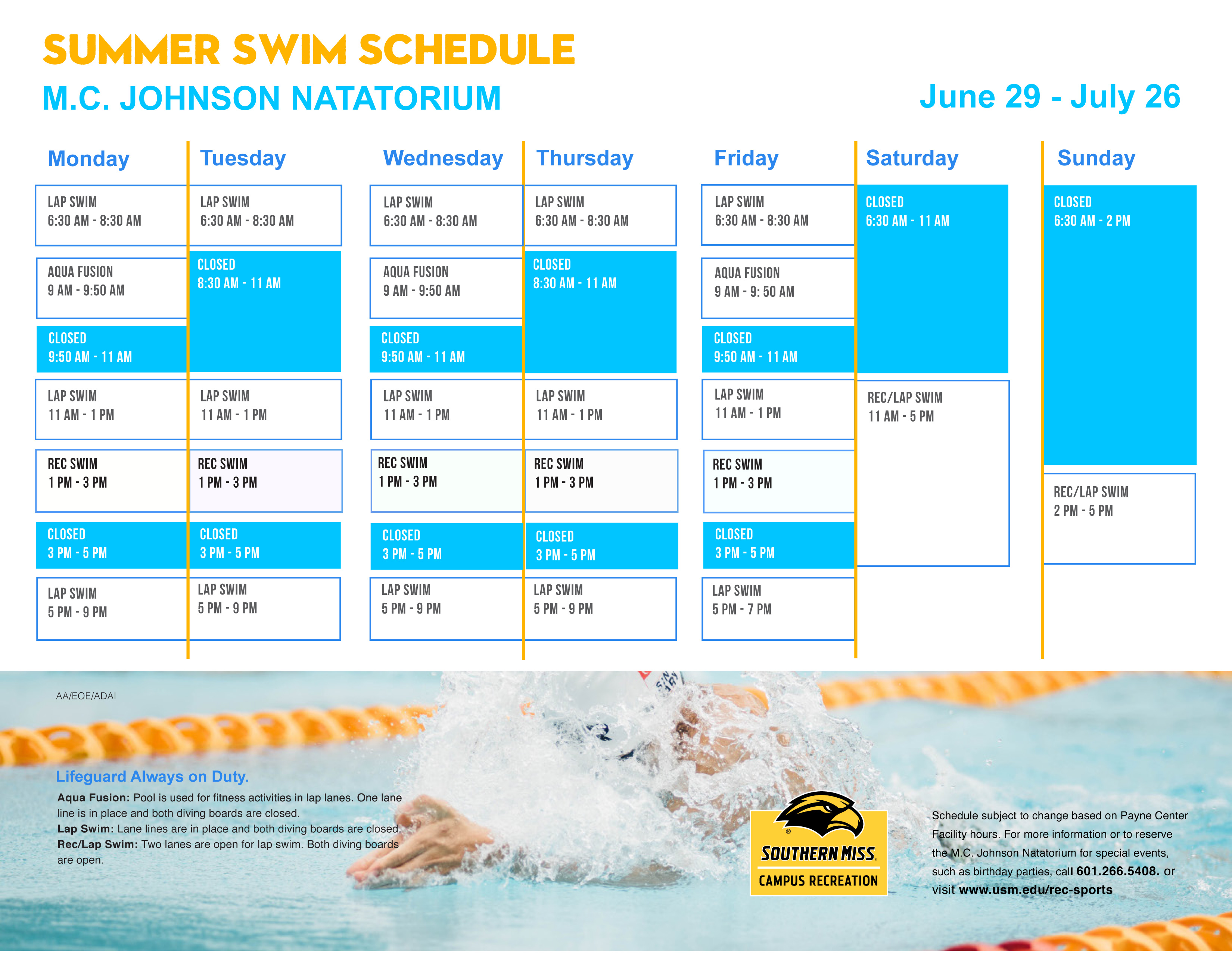 Summer 2 Pool Schedule