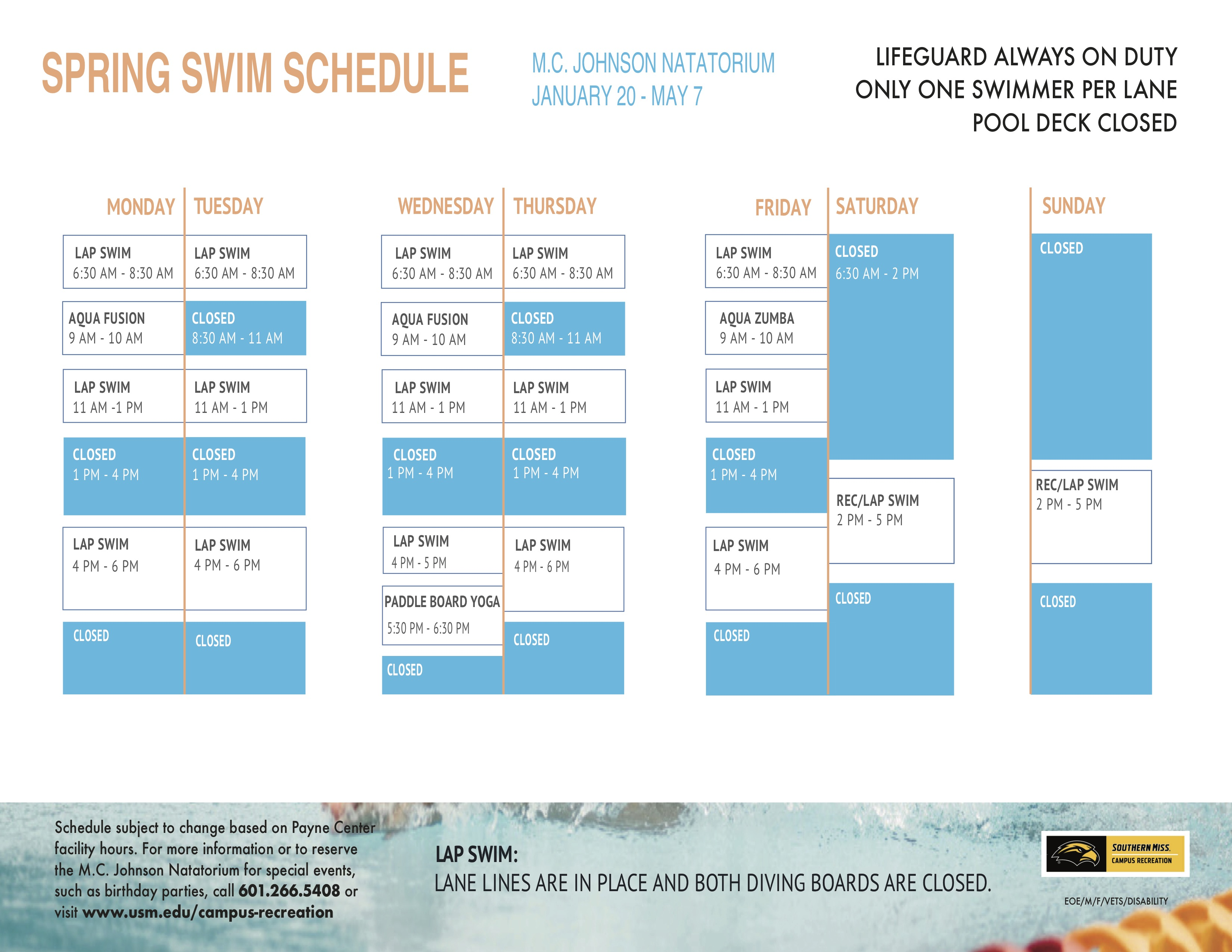 Natatorium Spring 2021 Schedule
