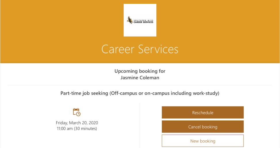 career services bookings