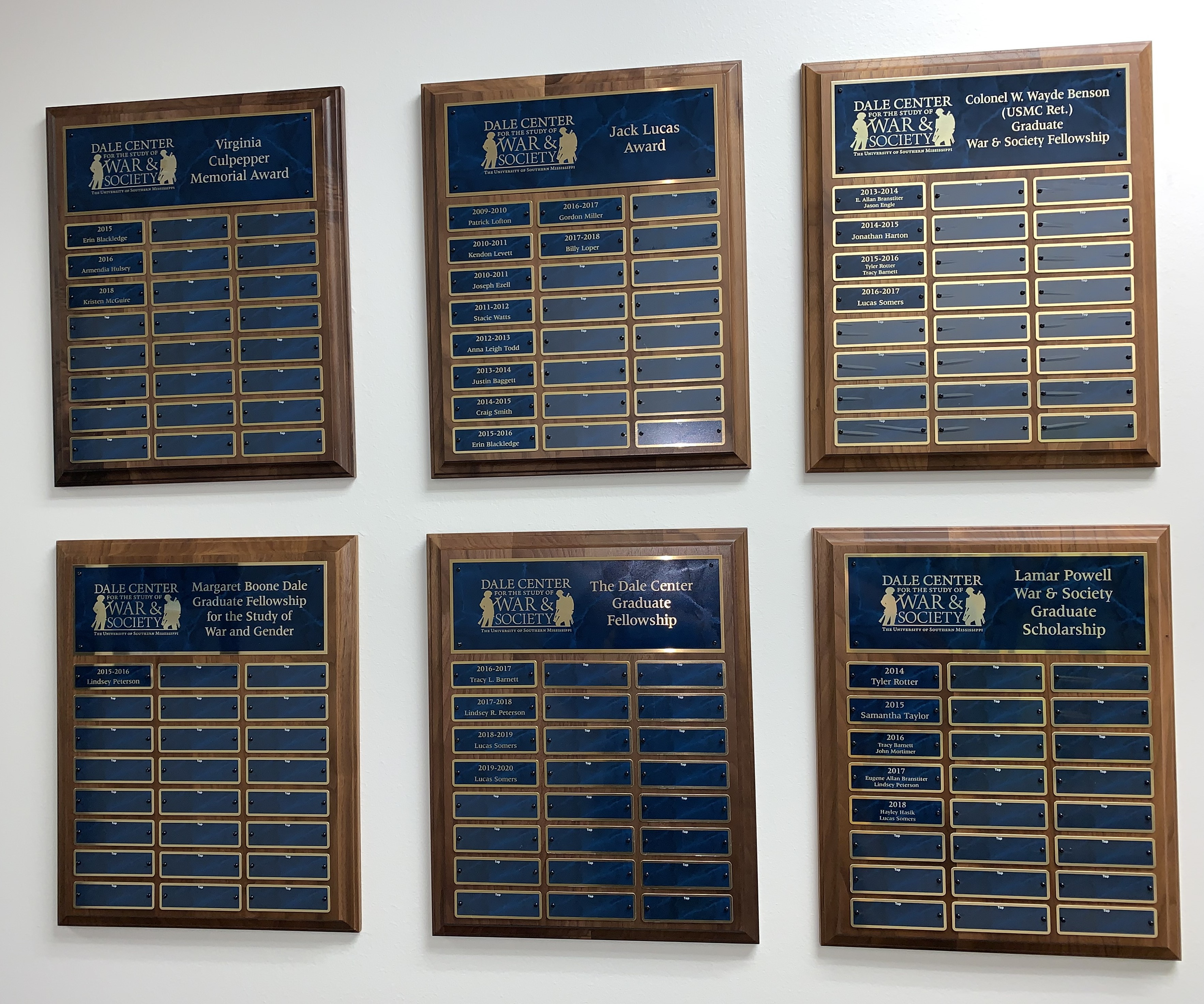 Dale Center Award Plaques