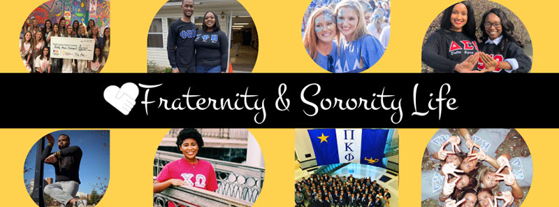 Fraternity and Sorority Life - A collage of photos of students