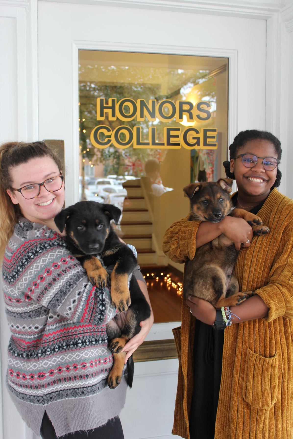 Honors Students with Puppies