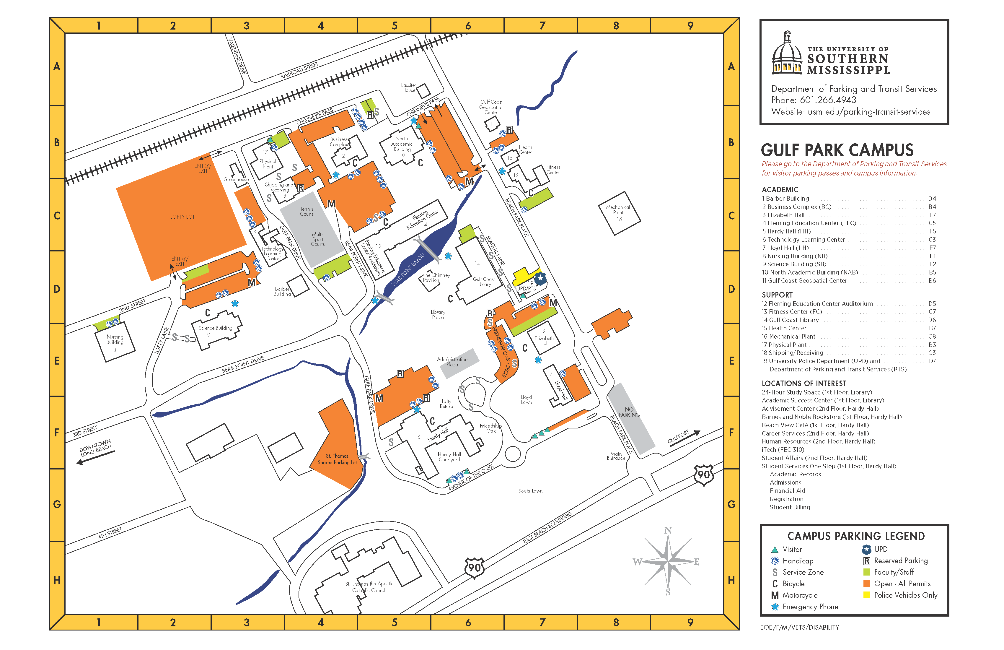 Gulf Park Campus Parking Map