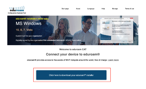 Download eduroam installer