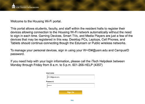 Enter credentials to access Housing WiFi