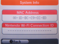 Nintendo DS Mac Address
