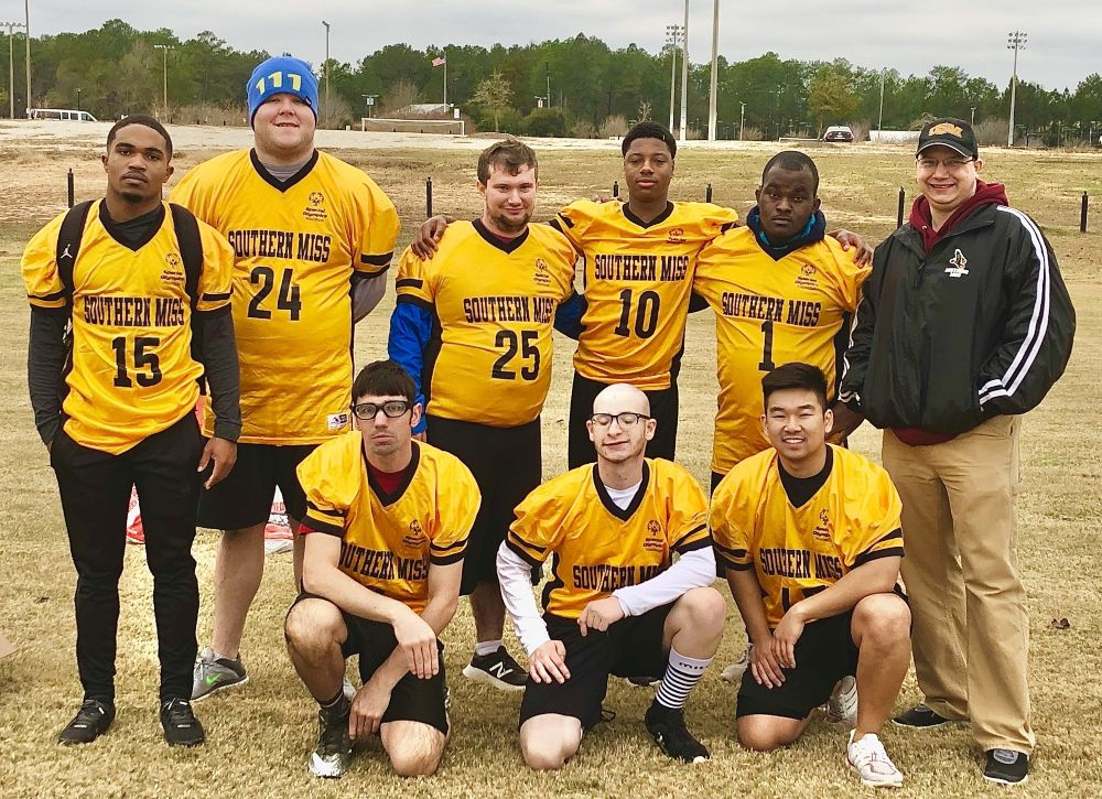 SO College Southern Miss Flag Football Team:  Front Row (left to right) Brandon C., Justin O. and Jonathon N. and Back Row (left to right) Nehemiah T., Taylor C., Dan L., Austin C., Victor V and SO College Advisor Scott Mullins.