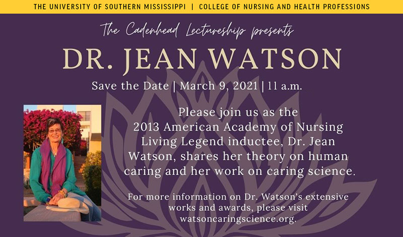 Dr. Jean Watson Save the Date | March 9, 2021 11 a.m.