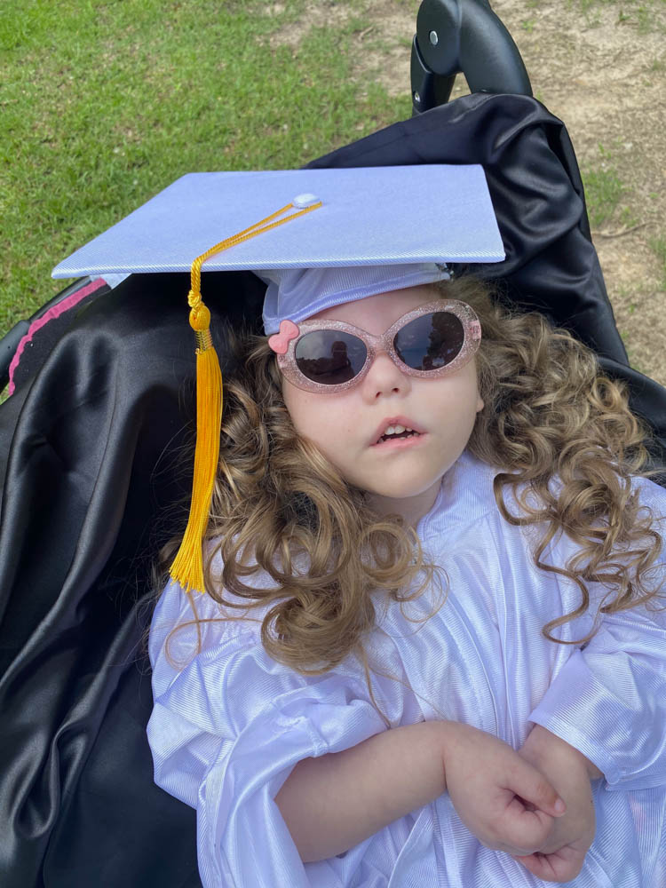 Everly Kate in her graduation cap and gown