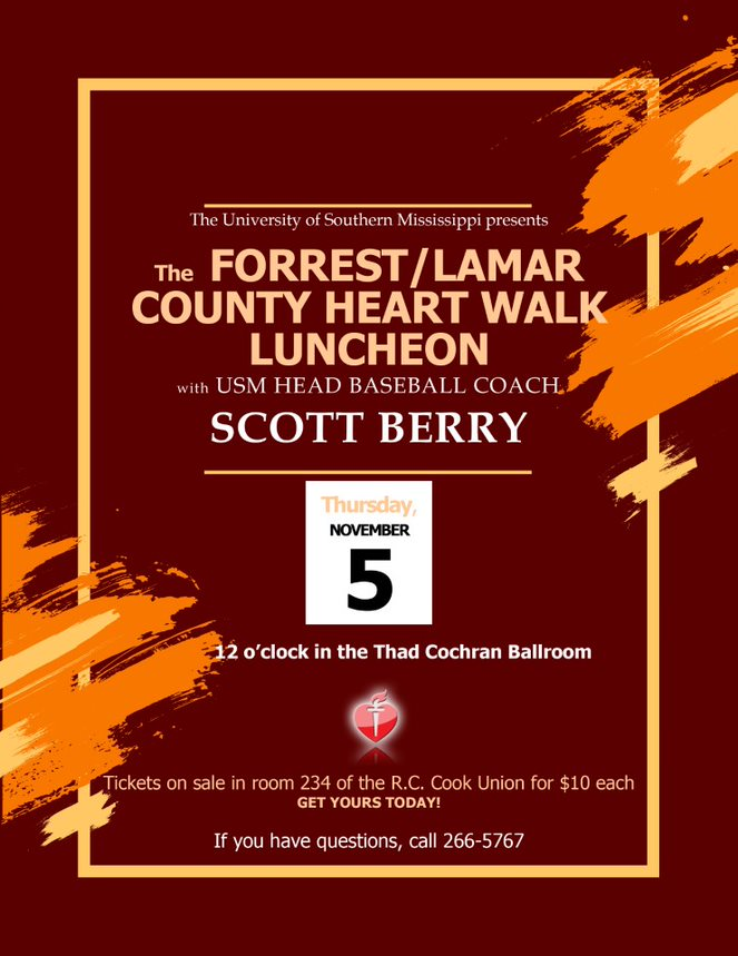 the Forrest/Lamar County Heart Walk Luncheon Thursday, Nov. 5