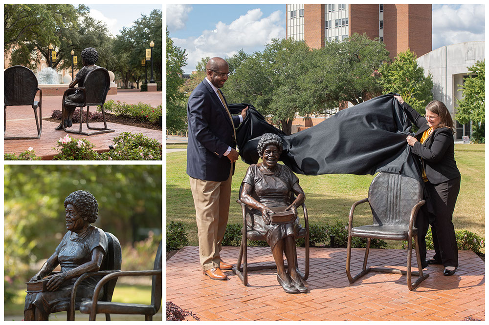 Rodney D. Bennett, University president, and Stace Mercier, executive director of the USM Foundation, unveil Oseola McCarty Statue