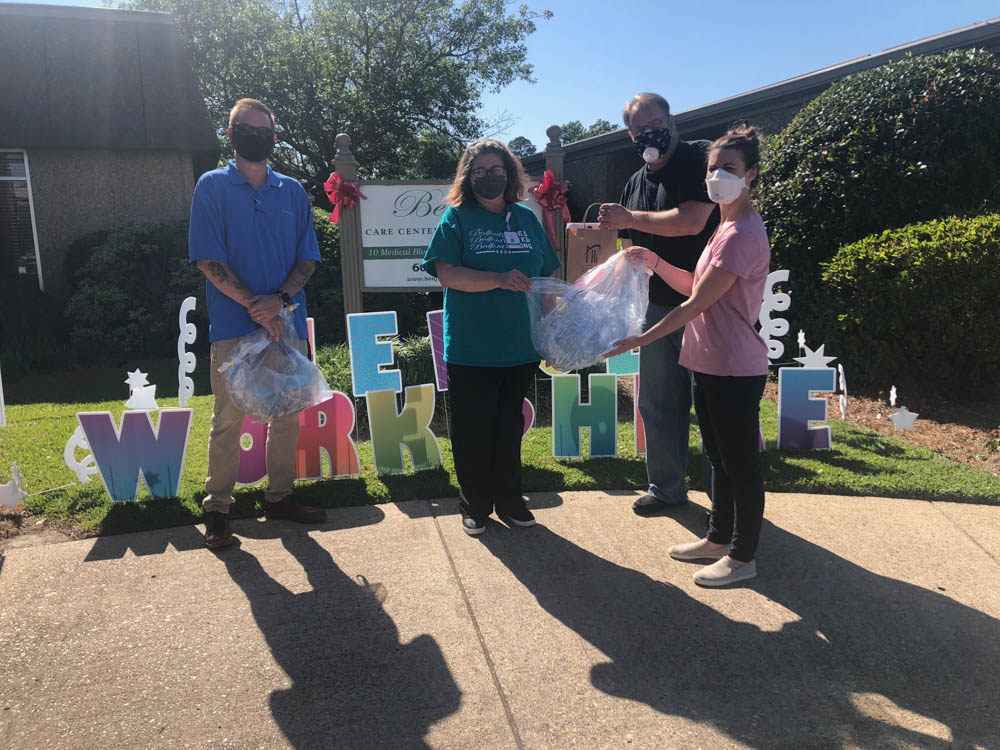 MPI representatives deliver masks to the Bedford Care Center