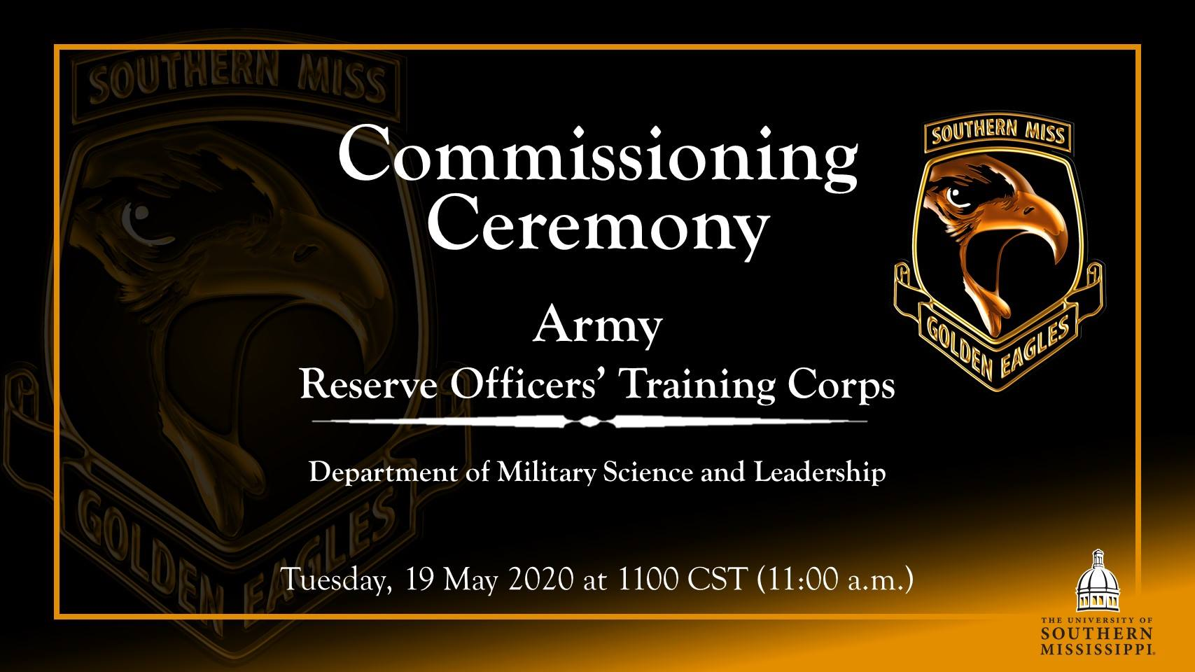 Commissioning Ceremony - Army Reserve Officer's Training Corps - Tuesday May 19 11:00 CST