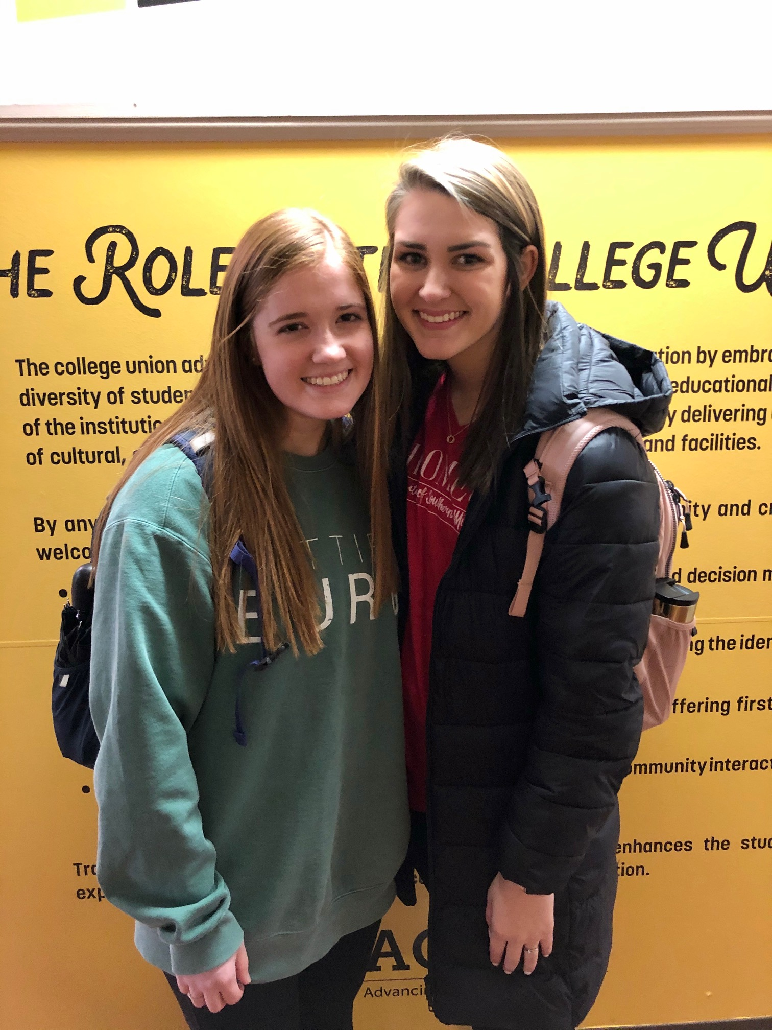 Freshmen students Hailey Talley, left, and Baylie Busby are excited about the start of the spring 2020 semester.