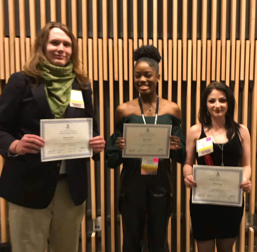First-place winner, Jackson Jones, won for his designs for Ah, Wilderness! by Eugene O'Neill; second-place winner, Rachel Roan, won for her designs for Guys and Dolls by August Wilson; and third-place winner, Amoy Cooper, won for her designs for Metamorphoses by Mary Zimmerman.