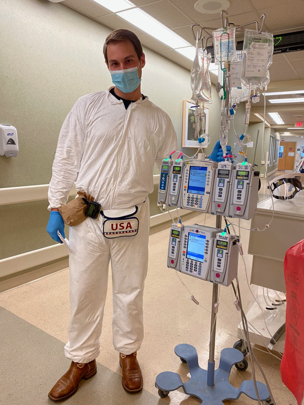 USM nursing graduate Travis Rodgers serves as part of the COVID-19 team at Ochsner Medical Center in New Orleans.