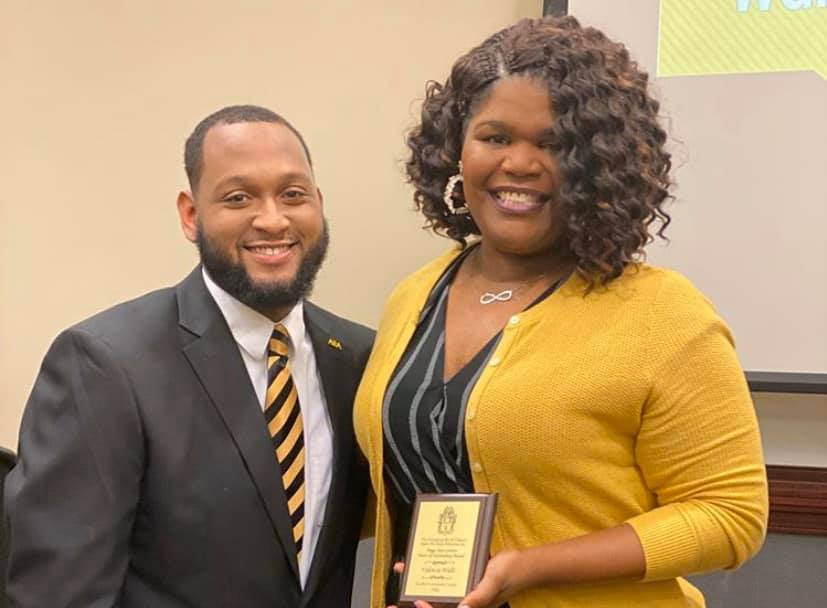 "Valencia Walls, coordinator of The University of Southern Mississippi's (USM) Office of Multicultural Programs and Services, received the Peggy Jean Connor ""Heart of Hattiesburg"" Award Feb. 27 from the Mu Xi Chapter of Alpha Phi Alpha, Inc. (Submitted photo)."