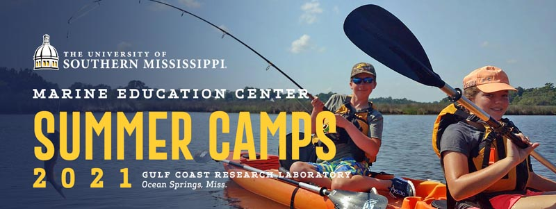 Summer Camps 2021 banner with people canoeing