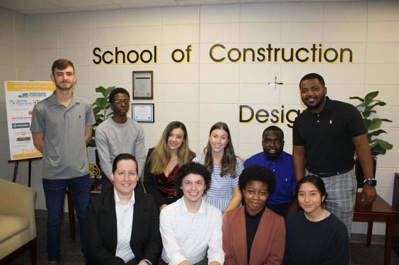 Students presenting at the USM Architectural Engineering Technology Program include, front row, left to right: Marissa Redmond, Lee Colt, Ogechi Oseji, Jennyfer Caracheo; back row, left to right: Brandon Prince, Curtis Washington, Karlee Hilliard, Holland Meier, Zachary Portlock, Antonio Darrington.
