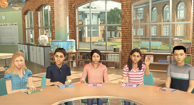 Avatars in a virtual classroom