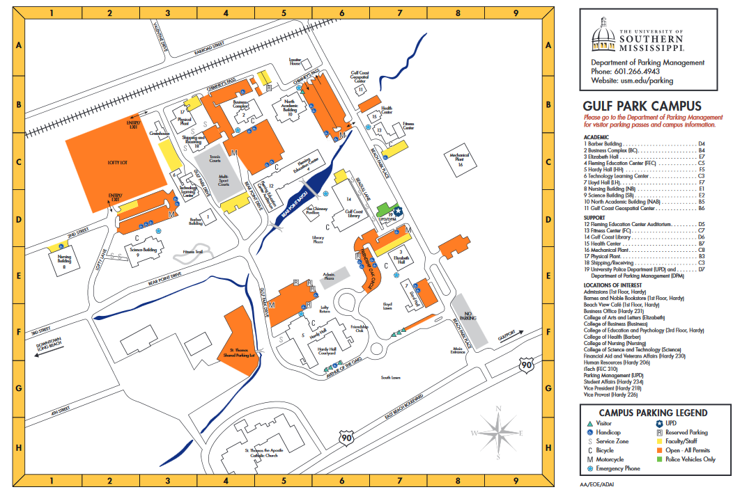Gulf Park Campus Code Blue Emergency Phones Map
