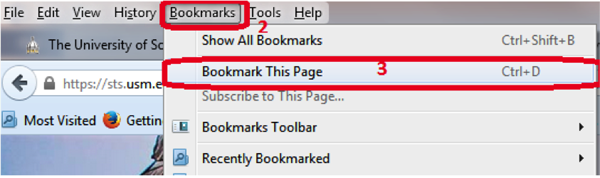 Step 3 - Select Bookmark This Page