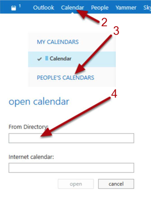Steps 2, 3, and 4 - Select calendar, right-click People's Calendar, open calenda