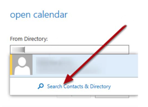Step 5 - Search contacts and directory, select user's name, and select open.