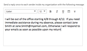 Step 4 - Input out of office message
