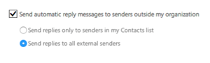 Step 5 - Check box if you want to send automatic reply emails outside the univer