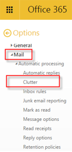 Step 4 - Select Mail then Clutter