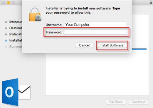 Step 9 - Enter your computer password and install
