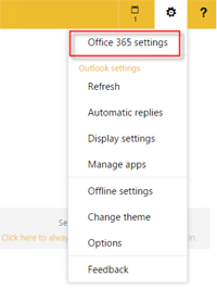 Step 3 - Select Office 365 Settings