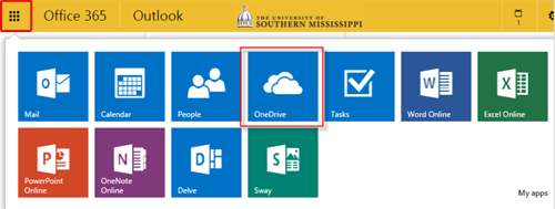 Step 2 - Select OneDrive from menu