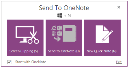 Send to OneNote feature