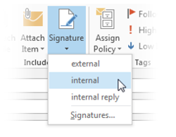 Automatically add a signature to messages