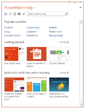 PowerPoint Help window