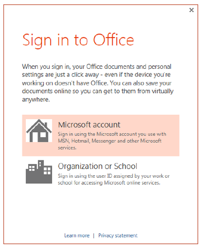 Sign in to Microsoft Office