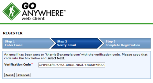 Verify email for self registration