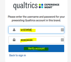 Enter account log in information and verify account