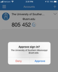 Approve sign in on mobile device