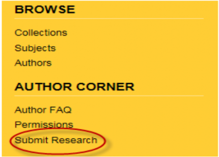 Screenshot of Submit Research from the Aquila website.