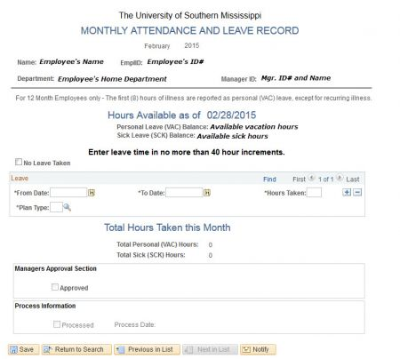 Monthly Leave And Attendance The University Of Southern Mississippi