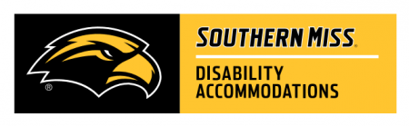 "USM Eagle logo with the text ""Southern Miss"" and ""Disability Accommodations"""