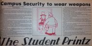 """Campus Security To Wear Weapons"" Student Printz February 18, 1975"